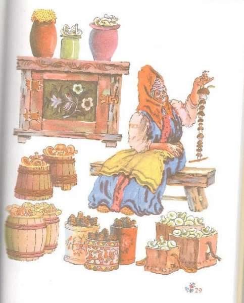 Рисунок: бабушка заготавливает припасы