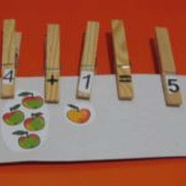Прищепки с цифрами и математическими знаками на листе с изображением яблок