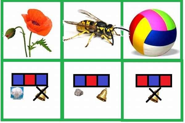Карточка с изображениями предметов и схемами слов