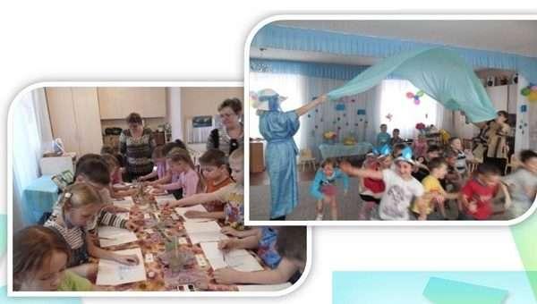 На занятии дети перевоплощаются в капельки и играют