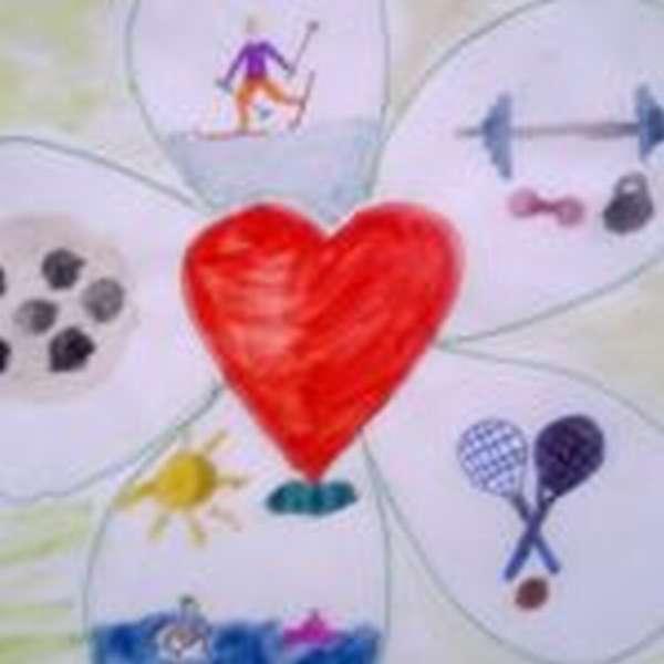 Цветок с серединой в виде сердца и лепестками-составными ЗОЖ