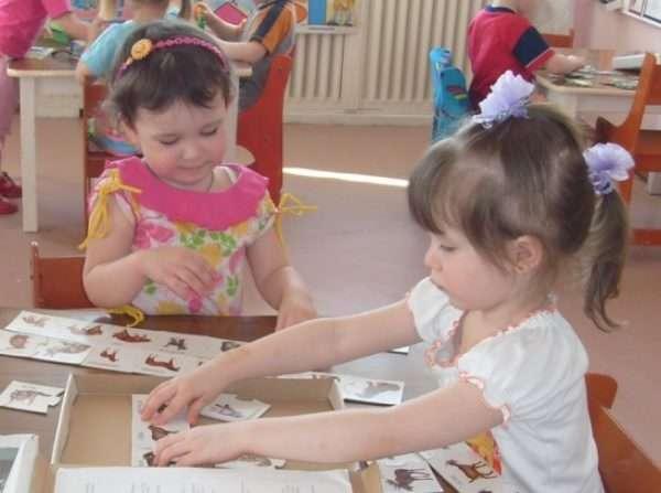 Две девочки раскладывают на столе картинки с изображениями животных