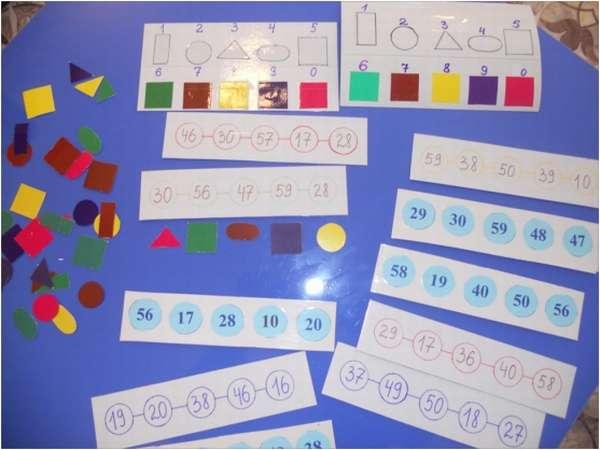 Материал для математической игры: карточки с цифрами, геометрическими формами из цветной бумаги