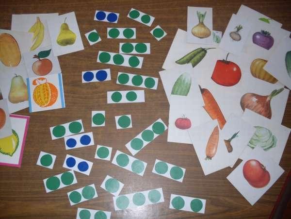 Картинки с фруктами и овощами, карточки с разным количеством кружочков