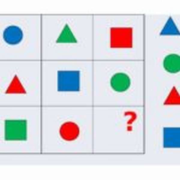 Геометрический тренажёр: фигуры в ячейках таблицы, одной не хватает
