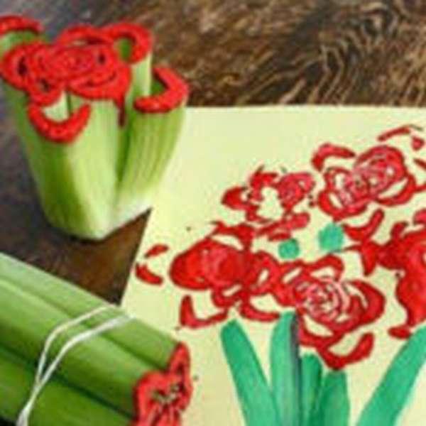 Букет цветов, выполненный в технике рисования штампами