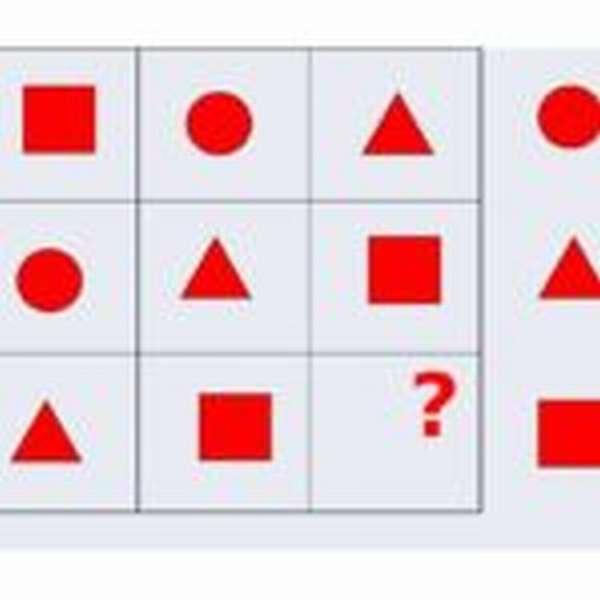 Геометрические фигуры в ячейках таблицы, одной не хватает