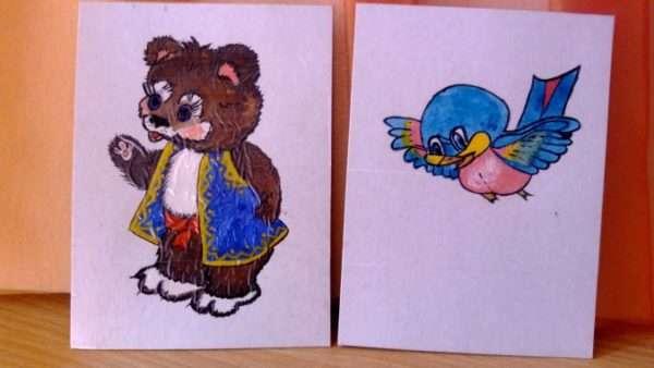 Картинки с медведем и птичкой для обозначения настроения мелодии