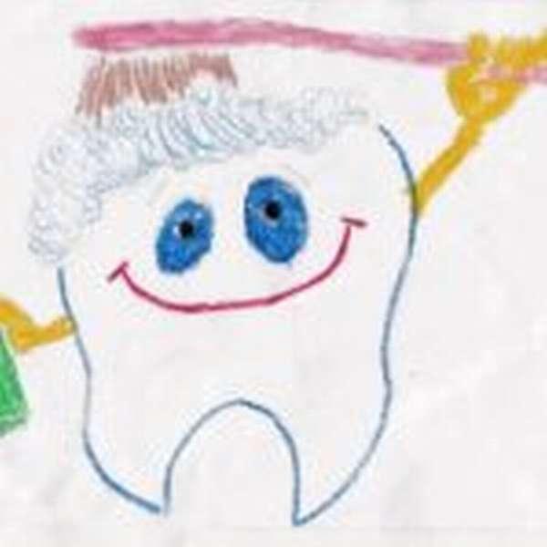 Детский рисунок: зуб чистит себя щёткой