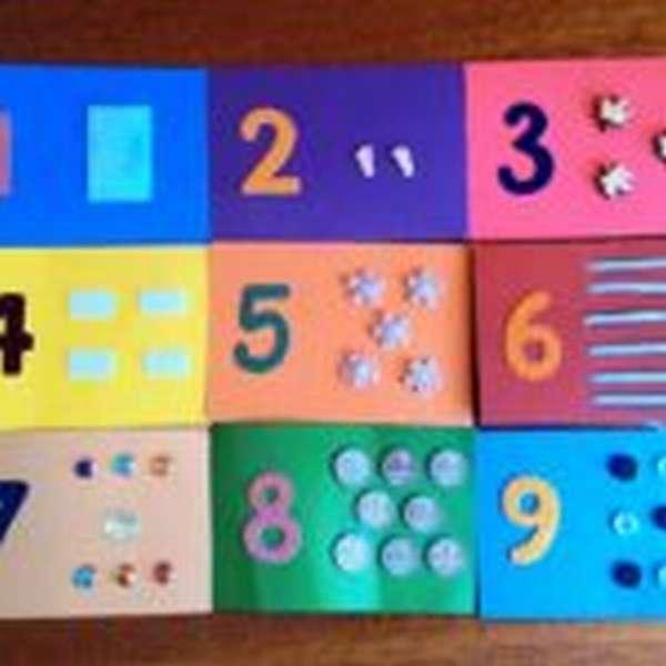 Тактильные карточки с цифрами и соответствующим количеством предметов