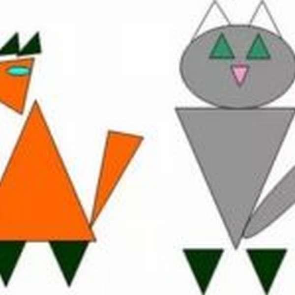 лиса и кот из геометрических фигур — дидактический материал