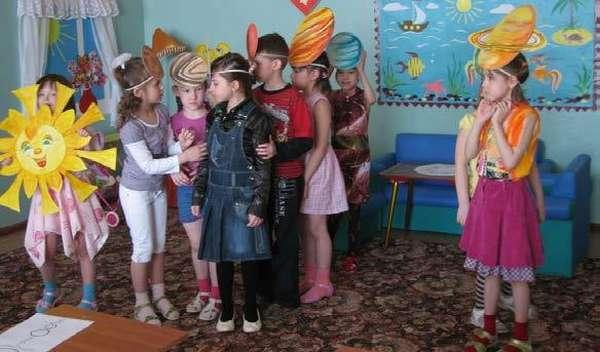 Дети в шапках-масках элементов солнечной системы