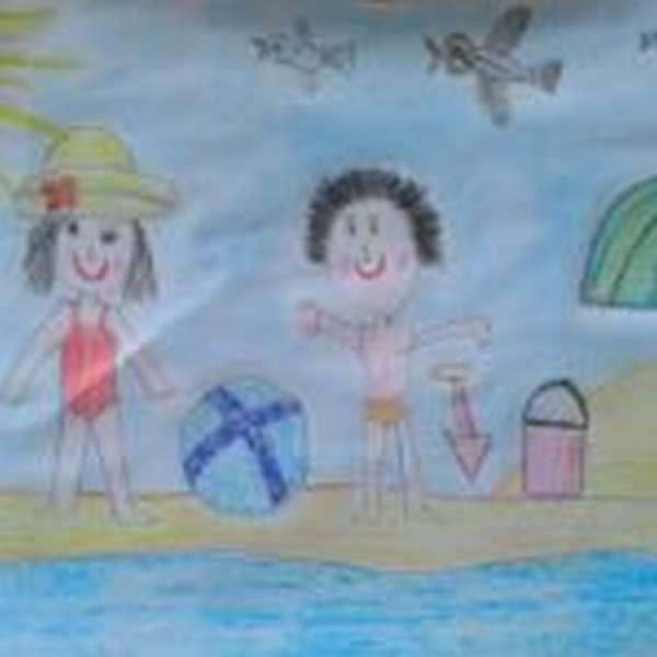 Рисунок девочка и мальчик на пляже