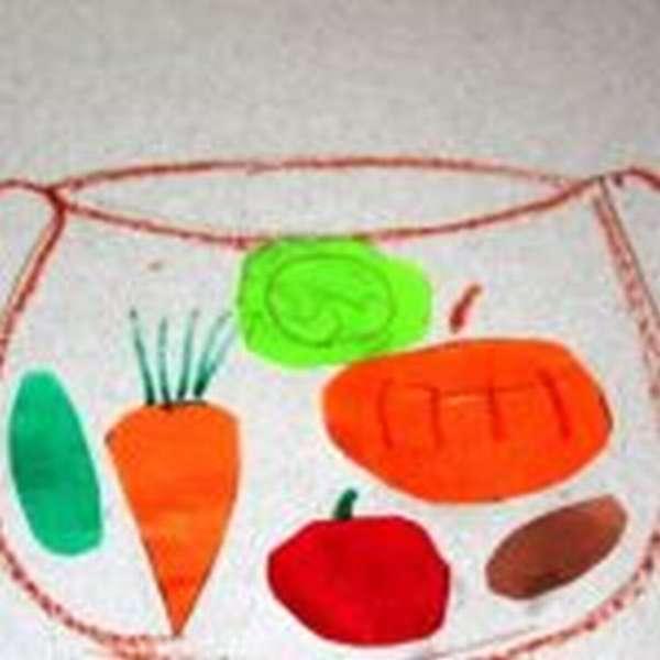 Аппликация кастрюля с овощами