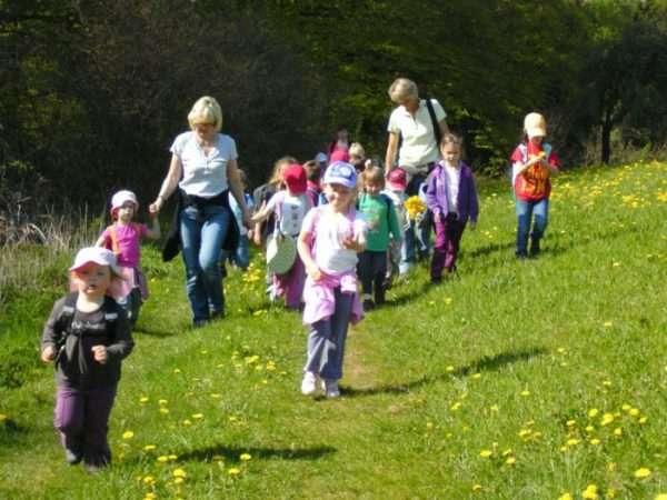 Две воспитательницы идут по лужайке с детьми