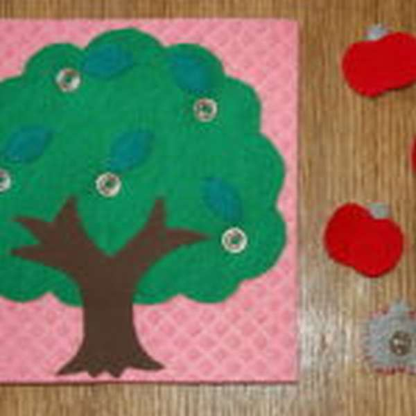 Дерево и яблочки из фетра