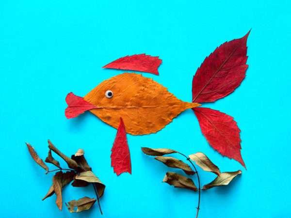 Рыбка из сухих листьев