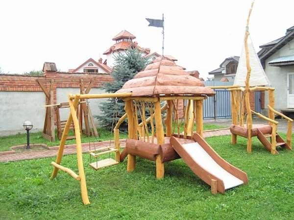 деревянные горки для дачи