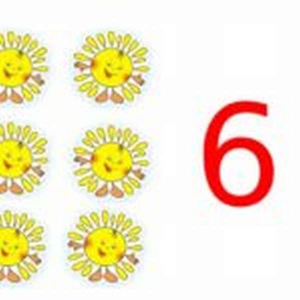 6 солнышек и цифра 6