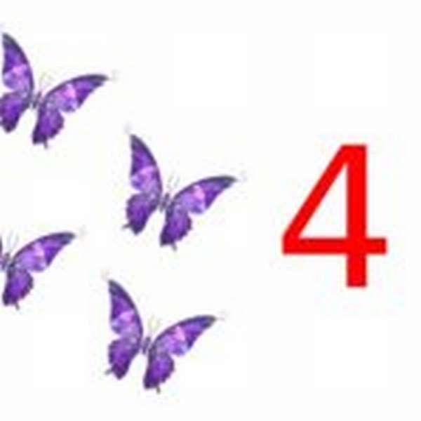 4 бабочки и цифра 4