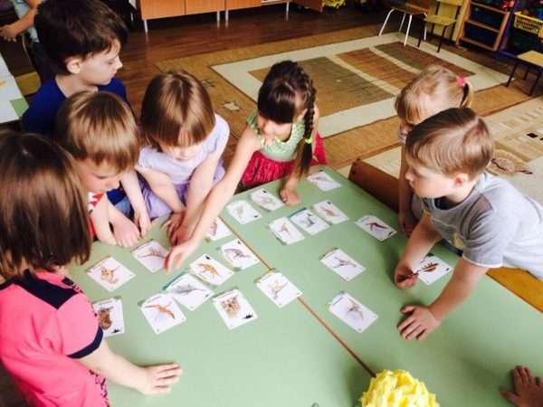 Дети раскладывают на столах карточки с изображениями динозавров