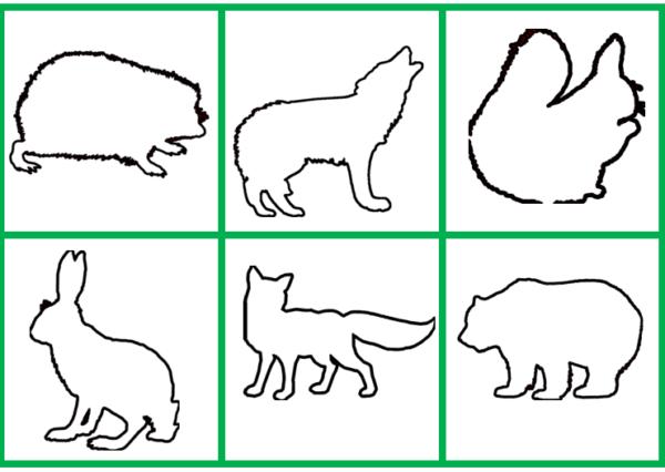Контуры изображений зверей