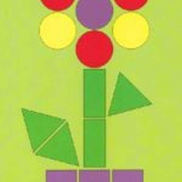 цветок из геометрических фигур — дидактический материал