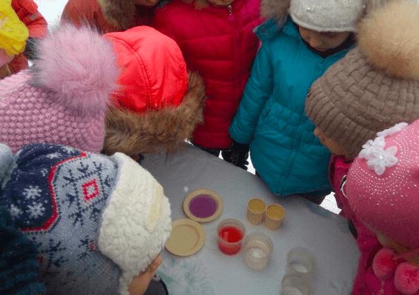 Дошкольники наблюдают за водой в твёрдом и жидком состоянии на прогулке