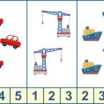 Три машинки, два крана, 4 кораблика