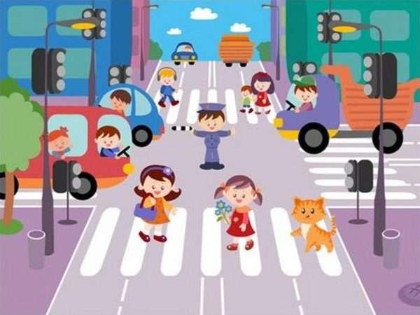 Картинка с анимационными человечками на проезжей части