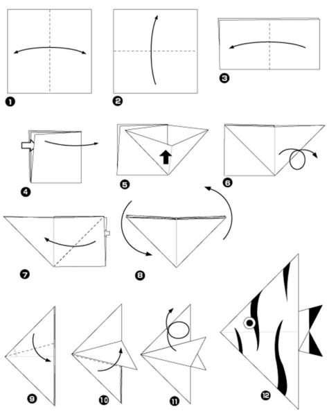 Шаблон для изготовления рыбки оригами