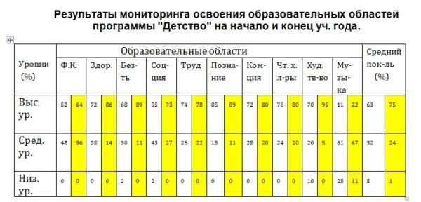Пример оформления результатов мониторинга по программе