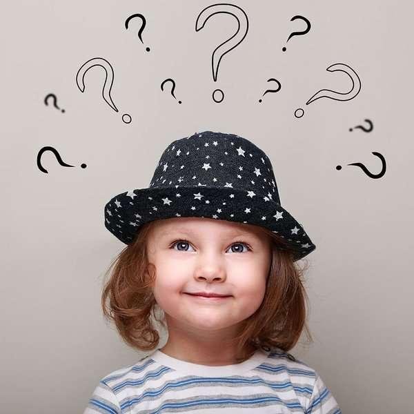 Девочка в шляпке, над ней в воздухе нарисованы вопросительные знаки