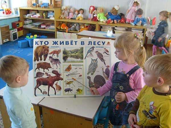 Девочка показывает мальчикам насекомых на плакате
