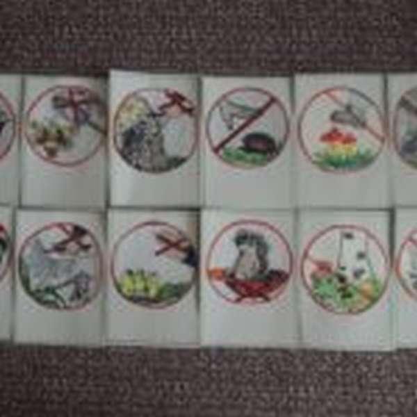 Двенадцать карточек с правилами поведения в лесу