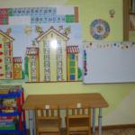На стене размещены два домика с буквами, слева — стеллаж с играми