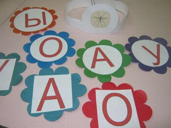 Цветы из цветной бумаги с большими карточками с гласными буквами и Ы