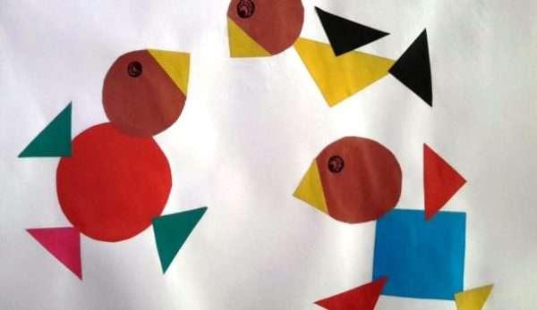 Аппликация: три птички из геометрических фигур