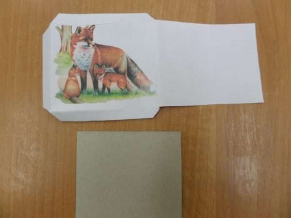 Картинка с лисой и карточка из картона
