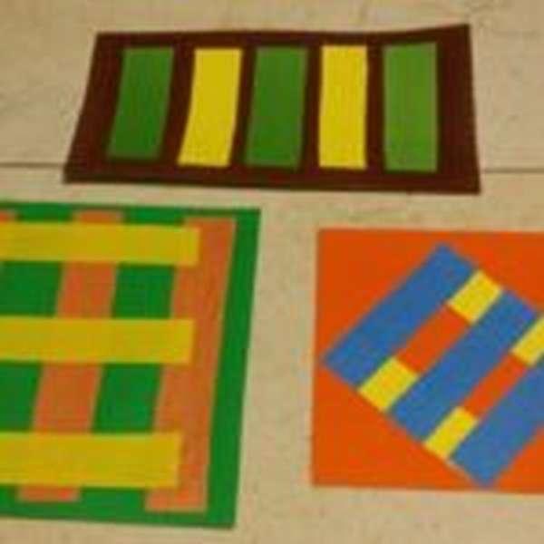 Аппликация Коврик из цветных полосок
