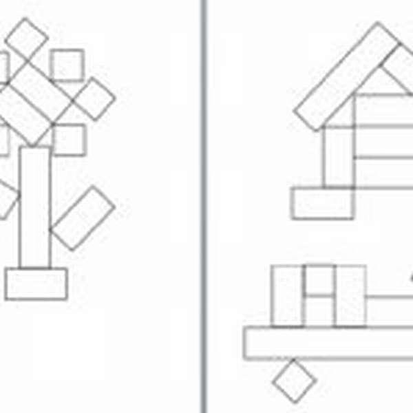 Чёрно-белая схема составления цветка, домика, машинки