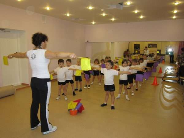 Дети и педагог делают зарядку с флажками
