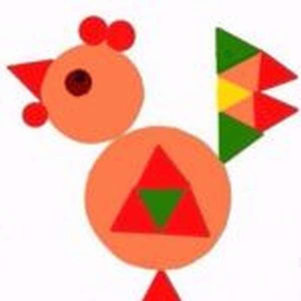 петух из геометрических фигур — дидактический материал