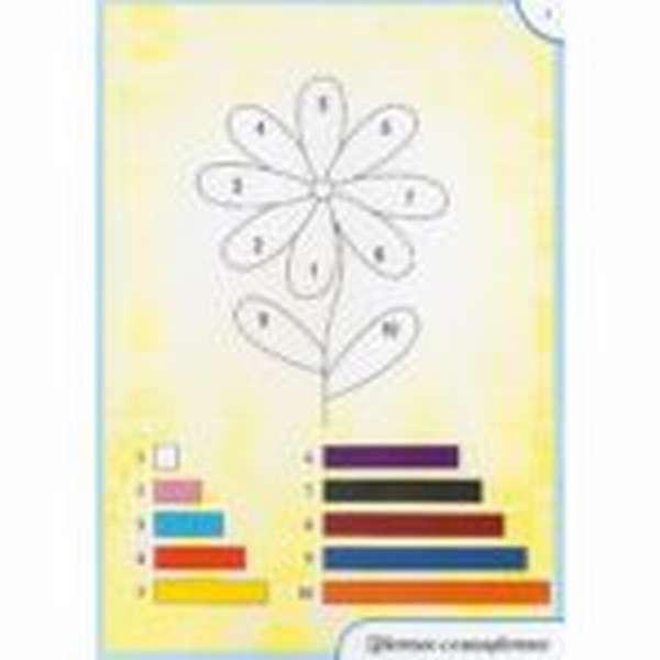 Схема выкладывания из палочек цветика-семицветика