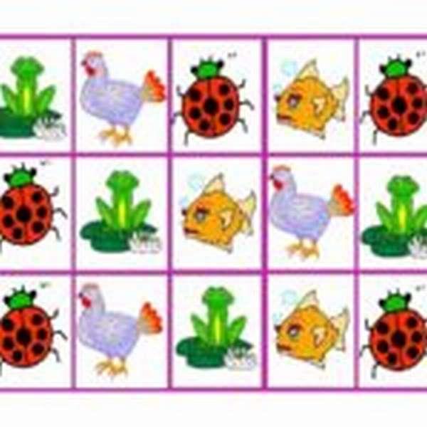 Табличка, в ячейках которой разные зверюшки, они повторяются