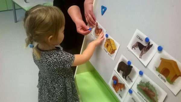 Девочка с помощью взрослого вывешивает на доску картинки